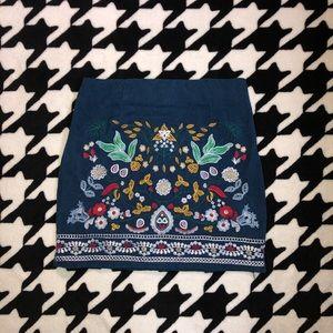 Corduroy Embroidered Skirt